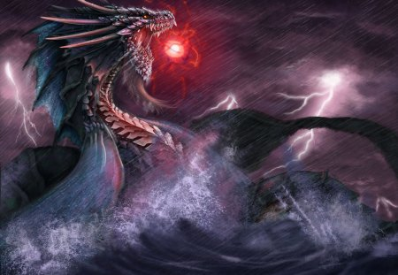 Sea Dragon - fantasy, dark, sea, dragon