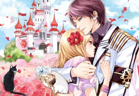 U R Mine 4ever - pretty, house, sweet, floral, nice, love, anime, beauty, anime girl, long hair, lovely, romance, kitty, sky, palace, cat, happy, short hair, hug, building, lover, scenic, blond, divine, beautiful, sublime, elegant, animal, blossom, scenery, couple, gorgeous, female, cloud, male, romantic, view, blonde hair, blond hair, boy, girl, uniform, flower, petals, mask, castle, kitten, scene