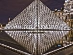 the louvre museum glass pyramid hdr