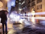 rain on a nyc avenue at night