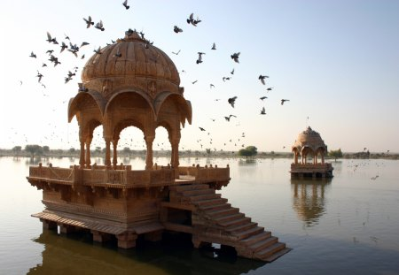 gazebos in amar sagar lake in india - birds, trees, gazebos, lake