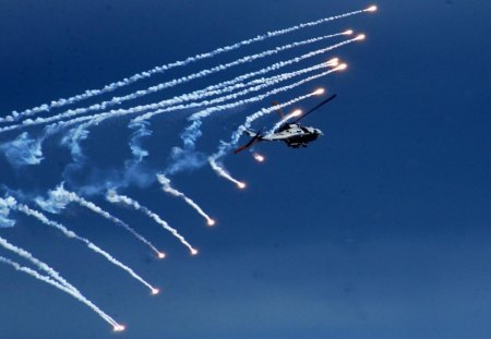 Helicopter - fire, sky, smoke, helicopter
