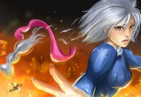 ~Sophie~ - short hair, fire, movie, anime, Sophie, tears, pink ribbon, Howls Moving Castle
