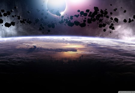 Meteor Shower - earth from space, asteroid shower, earth, armageddon, Meteor Shower, asteroid