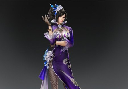 Zhen Ji - games, female, dark hair, cg, video games, dynasty warriors, girl, lone, plain background, zhen ji