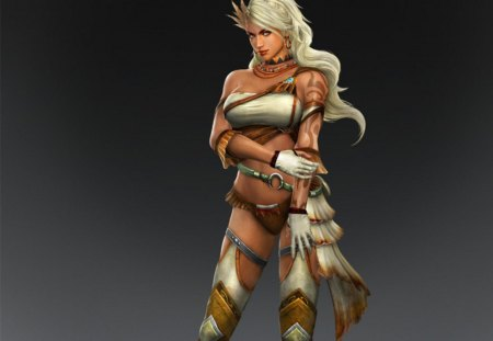Zhu Rong - games, female, zhu rong, cg, white hair, tattoo, video games, dynasty warriors, sangokushi taisen, gloves, girl, lone, plain background