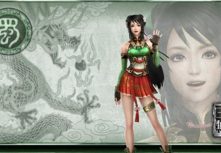 Guan Yinping - games, female, dark hair, short skirt, cg, video games, dynasty warriors, dragon, girl, lone, guan yinping, long hair