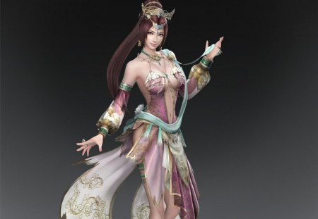 Diao Chan - games, female, diao chan, cg, brown hair, video games, dynasty warriors, girl, grey background, lone, plain background, tiara