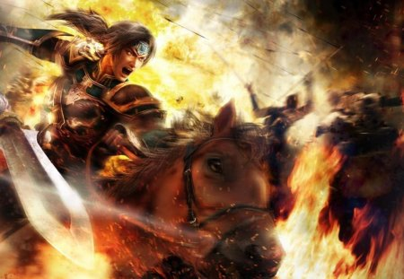 Zhao Yun - games, zhao yun, video games, horse, dynasty warriors, arrows, armor, fire, warrior, battle, flames, spear, weapon, armour