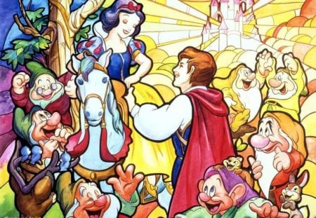 ~Happily Ever After~ - Snow White, colorful, castle, princess, joy, disney, prince, movie, classic, animals, animated, seven dwarfs, horse, fairy tale