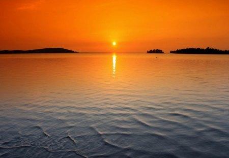 Sunset - sunset, orange, sea, amazing