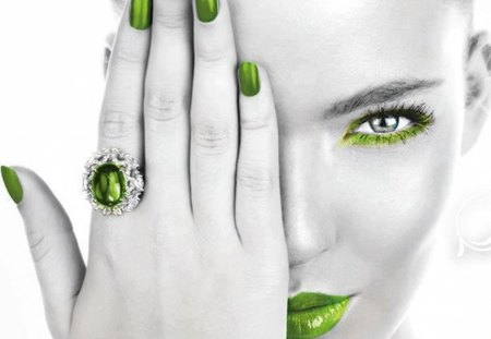 gray and green - gray, green, model, hand, woman