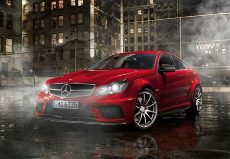 Red Mercedes-Benz C63 - benz, red, mercedes, car