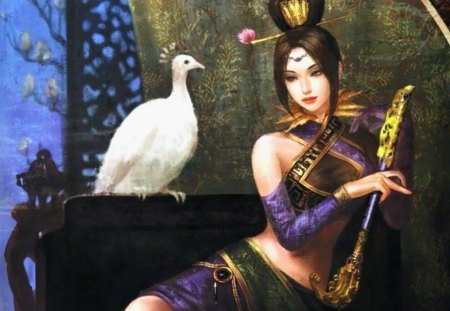 Zhen Ji - pretty, beautiful, dynasty warriors, elegant, sweet, nice, anime, feather, hot, beauty, anime girl, gorgeous, female, lovely, phoenix, sexy, cute, girl, oriental, chinese