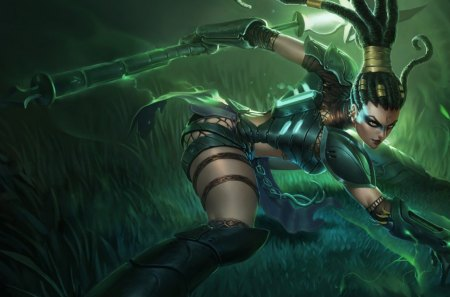 Headhunter Nidalee - league of legends, green, nidalee, headhunter
