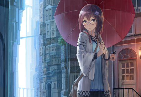 Rainy Day - wet, house, glasses, umbrella, sunglasses, city, anime, raining, hot, anime girl, long hair, female, town, sexy, building, cute, water, girl, rain