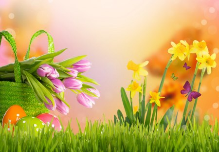Happy Easter - colorful, grass, easter, beautiful, green, flowers, beauty, tulips, tulip, spring time, lovely, easter eggs, colors, spring, basket, eggs, nature, happy easter