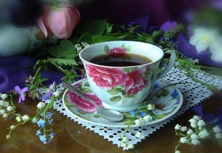 Cup of tea for Spring - pocelain, colors, various, spring, tea, floral, waiting, entertainment, cup, flowers, other