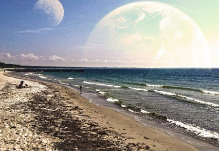 Interstellar vacation - shore, bath, sky, sea, beach, moon, water, summer, nature, comfortable