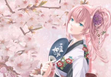 Megurine Luka - bloom, manga, spring, branch, kimono, megurine luka, girl, anime, flower, fan, pink, blue