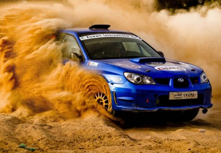 Subaru impreza - off-road, racing, wrc, sand, dust, rally, subaru, impreza, blue car