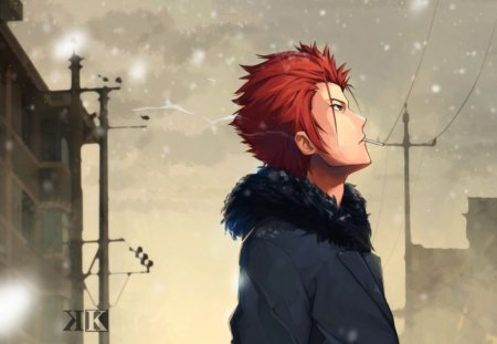 First Snow - Boy, Town, Red Hair, Brown Eyes, Anime, Cold, Origina, Short Hair, Winter, Cute, erkelee, Mikoto Suoh, First Snow, K Project, Cigarette