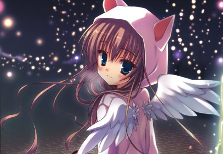 Neko Angel - nekomimi, pretty, glow, neko, sparks, wing, sweet, nice, anime, feather, neko mimi, anime girl, long hair, pink, star, light, female, wings, lovely, brown hair, angel, ears, cute, kawaii, girl, dark
