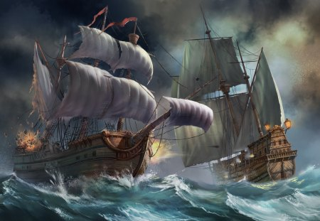 Sea Battle Sailboats Boats Background Wallpapers On Desktop Nexus Image 1385707