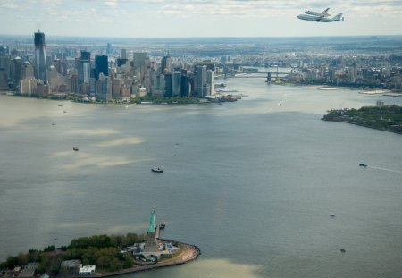 the shuttle enterprise over nyc harbor - plane, city, statue, bay, shuttle