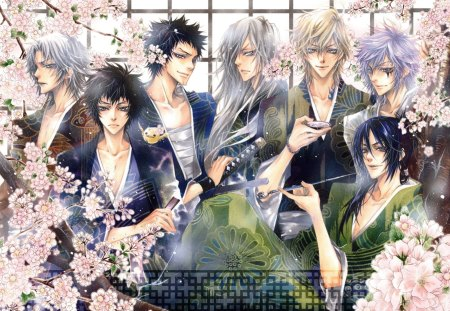 Katekyou Hitman Reborn - superbi squalo, guy, sakura blossom, khr, hibari kyouya, floral, cherry blossom, blossom, group, yamamoto takeshi, anime, handsome, hot, katekyou hitman reborn, team, rokudo mukuro, sakura, male, om, sexy, cute, boy, cool, flower, gokudera hayato
