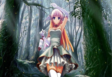 girl in woods - dress, woods, big eyes, thigh highs, bows, pull ups, sweet, green, long hair, lovely, legs, ribbens, trees, cute, girl, uniform, frills, white, two tails