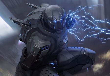 Lightning Strike - fantasy, cool, warrior, soldier, lightning, sci fi