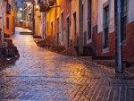 an uphill alley wet after rain