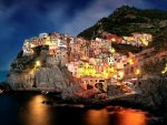 magnificent italian seaside town at night