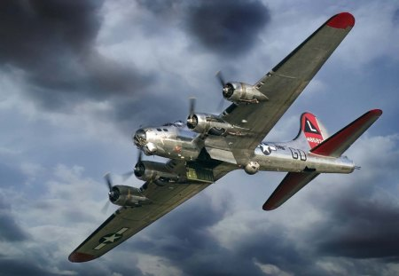 b-17 flying fortress with open bomb bay doors - bomber, clouds, plae, WWII, doors