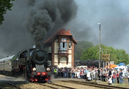 steam train coming into a polish station - steam, train, crowd, station, tracks