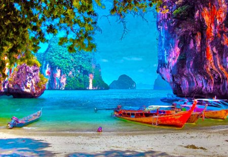unreal - colorful, boats, nature, water