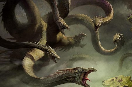 A Group of Dragons - fantasy, epic, dark, dragon, deadly