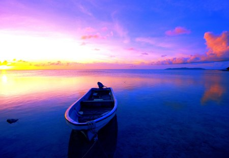 RESTING BOAT - boat, blue, sea, sunset