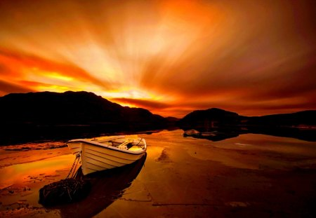 BOAT at DUSK - boat, beach, mountain, sunset