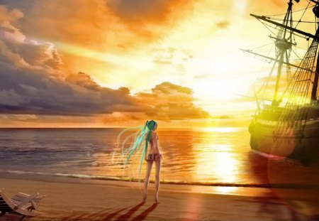 Sunset Mirage - Miku, Hatsune, Ocean, Beach, sunset, clouds, Sea, Pirate, sand, Shipwreck, Lake, Hatsune Miku, Bikini