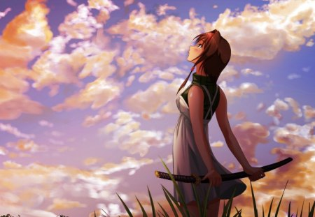 Girl staring up to the sky - beautiful, anime, sword, girl