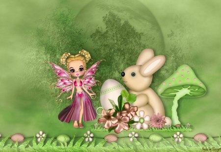 Easter Bunny Meets Fairy - flowers, bunny, fantasy, fairy, easter, spring