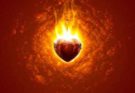 Burning Heart (modified) - Jesus Christ, adore, glorify, most sacred heart of Jesus, Jesus, flame, sacred, soul, divine mercy, mercy, burn, burning, worship, spirit, sacred heart, holy, Christ, heart, cross, adoration