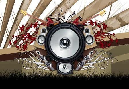 Music Vector - flowers, speakers, guitar, vector, music, floral, abstract, silhouette