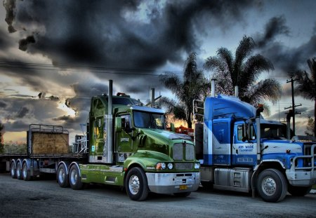 two trucks parked under stormy clouds hdr - parked, trucks, hdr, trees, clouds, flatbeds