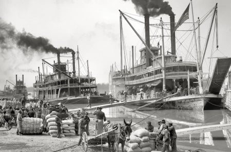 vintage port on the mississippi - boats, port, black and white, pedal, river, vintage