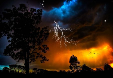 Forces of nature - nature, flash, sky, storm
