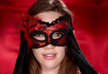 Masquerade girl - cool, wearing, mascara, girl