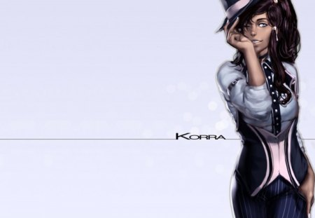 Korra - female, anime, avatar the legend of korra, plain background, avatar, korra, blue eyes, hat